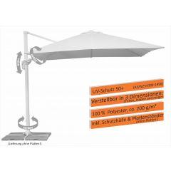 Schneider Pendelschirm Rhodos Twist Bianco 300 x 300 cm weiss - offen
